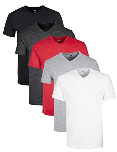 best service 490f3 db8f3 Lower East Herren T-Shirt mit V-Ausschnitt, 5er Pack, Mehrfarbig  (Weiß/Schwarz/Grau/Anthrazit/Rot), Large