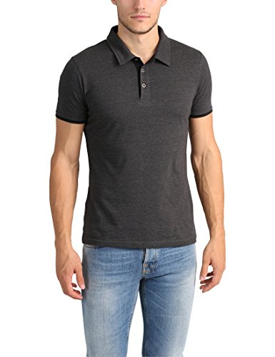 4e148634 Lower East Men's Slim-fit Polo Shirt, Anthracite Mélange/Black, M
