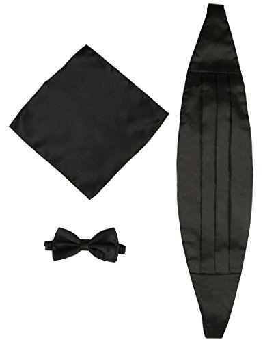 DonDon Mens triple pack with colour coordinated cummerbund bow tie breast pocket handkerchief perfect for special occassions Men's Clothing Clothing