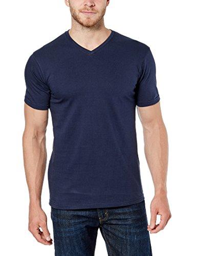 6b603fcea Lower East Men's T-shirt with V-Neck, 5-Pack in Various Colours, dark blue,  L