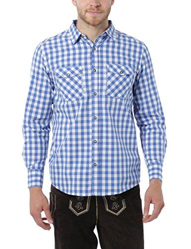 online retailer 50e9a 2d936 Lower East Camicia da uomo, a quadri, Blu/Bianco, S